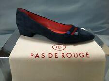 Pas De Rouge Women's Janet Blue suede flats with buttons, EU 38, new