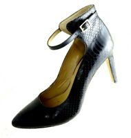 Ann Taylor Womens Size 7.5M Snake Skin Print Pumps Black Leather Slip On Shoes