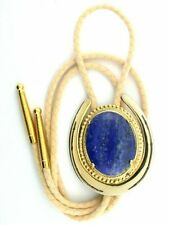 Color Bolo Tie With Cord Epbt81N Lapis 40x30 Oval Cab Cabochon Horseshoe Gold