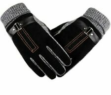 Men's Warm Winter Gloves Genuine Leathers Suede Mittens Thick Thermal Hand-Wears