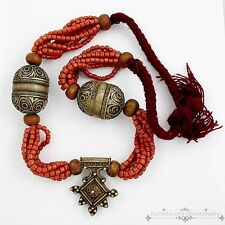 Antique Vintage Deco Sterling Silver Plated Chinese Tibetan HUGE Coral Necklace