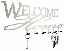 Welcome Home Schlüsselbrett -  Hakenleiste Schlüsselboard, 6 Haken Metall silber