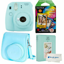 Fujifilm Instax Mini 9 Polaroid Ice Blue Instant Camera, case album and 10 films