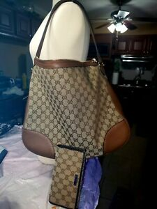 New Authentic GUCCI Canvas Large Tote with Wallet