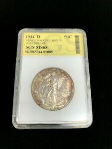 1944-D 50C Walking Liberty Silver Half Dollar SGS MS 65
