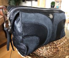FABULOUS NANETTE LEPORE Patchwork Black & Charcoal Leather Clutch Travel Case 👌