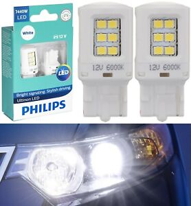 Philips Ultinon LED Light 7440 White 6000K Two Bulbs Back Up Reverse Replacement