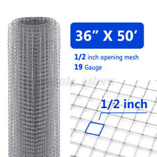36''x50' 1/2'' Mesh Hardware Cloth 19 Gauge Galvanized Fence Wire Netting Garden