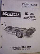 VINTAGE  NEW IDEA OPERATORS &  PARTS MANUAL -# 205 PTO MANURE  SPREADER -1963