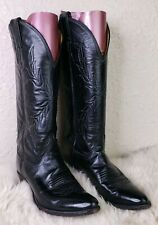 Vintage Justin Cowgirl Boots Black Leather Womens Size 6B 6 Style L4814