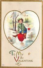 Valentine~Victorian Boy Plays Leap Frog Over Hearts~Gold Leaf Emboss~Nash V-73
