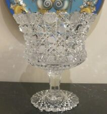 Breathtaking American Brilliant Period ABP Crystal Compote Pedestal Bowl