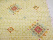 Rosa/Yellow Diamond Abstracto Estampado 100% Aspecto De Lino Algodón