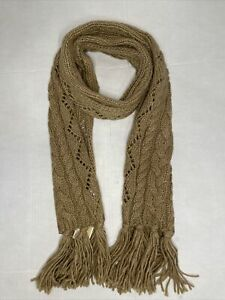 Michael Kors Womens Fringe Scarf Pointelle Cable Knit CAMEL - NEW WITH TAGS!!