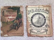 1904 Jayne's Medical Almanac Guide to Health & 1905 August Flower German Syrup