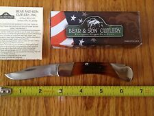 "BEAR & SON MGC USA 2005 RED STAG BONE LOCKBACK HUNTER KNIFE MIDSIZE 3.75"" NIB"