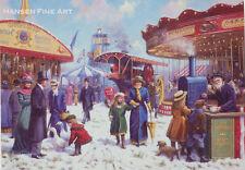 Christmas Fair Victorian Edwardian Traction Engine Christmas Xmas Card
