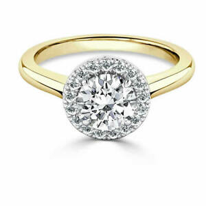 1.35 Ct Moissanite Round Cut Yellow Gold Engagement Ring 14K Solitaire Girl ring