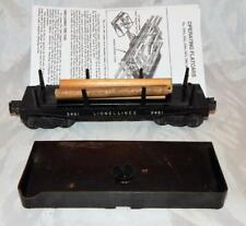 Lionel 3461 Die Cast Automatic Log Dump car w/stakes, logs BAR END trux 1952-55