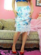VTG Style White Blue Floral Satin Shiny Exotic Eyelash Lace Half Slip Skirt sz M