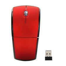 Arc Folding 2.4Ghz Wireless Optical Scroll Wheel Mouse Mice For PC Laptop Red b7