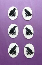 3 L&R Pairs Blackbird Crow Raven on White 25mm x 18mm Goth Halloween Emo Cameos