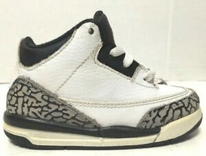 Nike Toddler Air Jordan 3 Retro Shoes TD White Black 832033-123 Size 7.5C