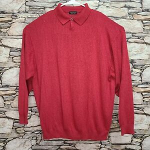 Cellinni Mens Pullover Shirt Size 2X Red Long Sleeve Made in Italy Button Collar