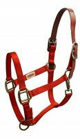 Showman RED Nylon Breakaway Western Horse Halter W/ Leather Crown! HORSE TACK!