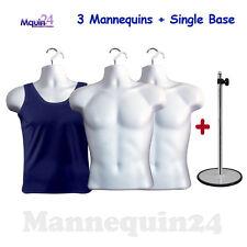 3 Pack White Male Torsos + 3 Hangers + 1 Stand - Men Dress Form Mannequin