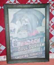 """BULL DURHAM Umbrella AD, Original  Wood Frame; 21""""x 27"""""""