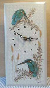 VGC Vintage Tile Wallclock / Kingfisher Clock Bird Design by Winnifred Knight