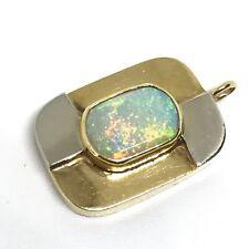 14k Yellow & White Gold Fire Opal Pendant