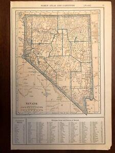 1927 Nevada Map New World Atlas and Gazetteer