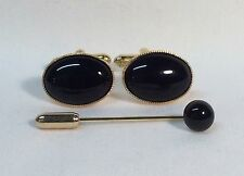 Black Onyx Cufflinks with matching Cravat/Tie Pin, Gold plated.