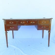 Vtg Louis Xvi Style Fruitwood Desk w/ Bronze Mounts 5 Drawer Antique Estate