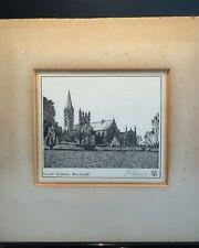 Original old engraving. Llandaff Cathedral. Signed. Unframed