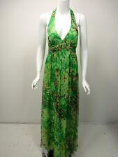 SUE WONG Green Lime White Gold Metallic Silk Chiffon Halter Dress Gown sz 10