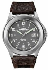 "Timex T40091, Men's ""Expedition"" Brown Leather/Nylon Watch, Indiglo,  T400919J"