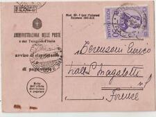 ITALIA 1942 50C ROSSINI SU AVVISO DI RICEVIMENTO PER FIRENZE