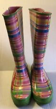 Women's Sperry Top Sider Pelican Rain Boot Pink Green Plaid Size 9