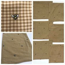 LOT 6 Bee Royal Queen Placemats Honey Embroidered Shabby French Chic Gold Brown