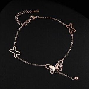 Ladies Girls Butterfly Star Anklet Ankle Bracelet Chain Rose Gold Filled 9-11""