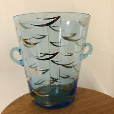 Retro Blue Glass Ice or Champagne Bucket - Great Condition