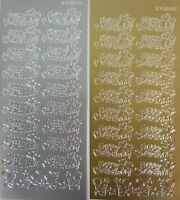 2 sheets of Happy Birthday(with hearts) Peel-offs  Gold and Silver
