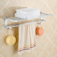 Double Towel Rail Holder Wall Mounted Bathroom Rack Shelf Aluminum Modern New