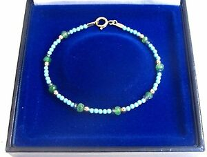 blue turquoise beads and gold bracelet emerald sapphire natural genuine gemstone