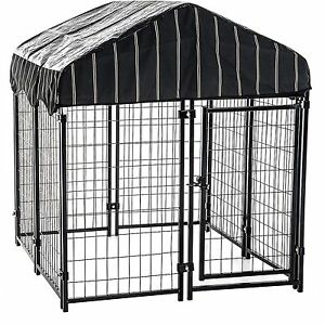 XXL Large Pet Resort Dog Chain Link  Outdoor Dogs Cage with Cover Crates Kennels