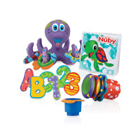 Nuby Bath Time Fun Toy Set - Octopus Toy, Stacking Cups, Bath Book, and Letters