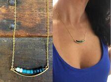 Anthropologie Turquoise Teal Ombre Beads Brass Arc Bar Gold Plate Chain Necklace